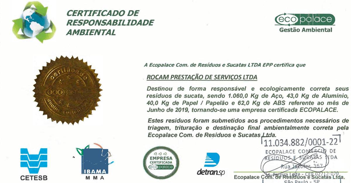 Certificado de Responsabilidade Ambiental - CETESB, IBAMA, Eco Palace e Detran.SP