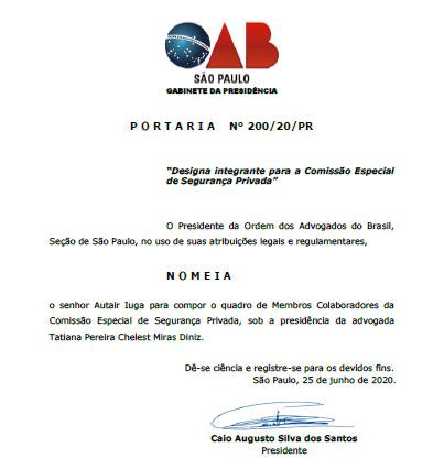Presidente Iuga é nomeado para a Comissão Especial de Segurança Privada
