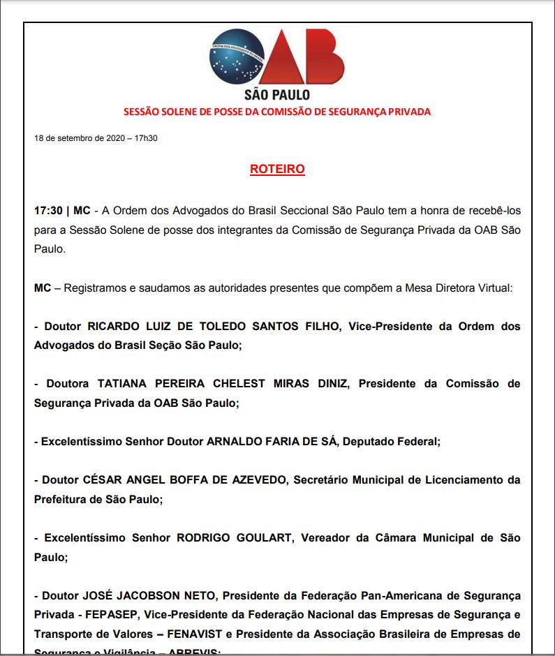 SESSÃO SOLENE DE POSSE DA COMISSÃO DE SEGURANÇA PRIVADA 18/09/2020 ÀS 17:30