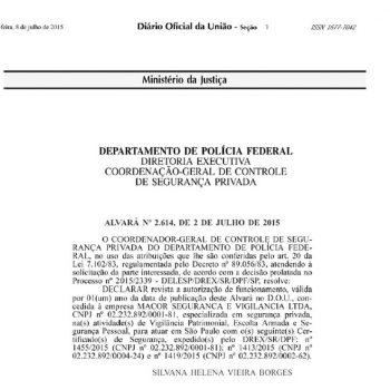 Portaria de autorização para exercer seviços de escolta armada (Alvará-2614)