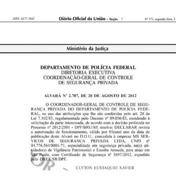 Portaria de Autorização para exercer serviços de vigilância privada (Alvará-2707)