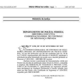 Portaria de autorização para exercer seviços de segurança pessoal privada (Alvará-3598)