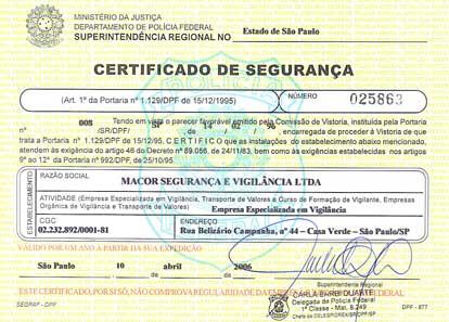 Certificado de Segurança - Vistoria da Sede da Macor em São Paulo