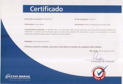 Certificado CESVI BRASIL (Centro de Experimentação e Segurança Viária)