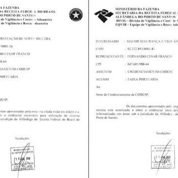 Certificado de Credenciamento da CODESP - Companhia Docas do estado de São Paulo