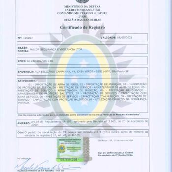 Certificado de Registro - Ministério da Defesa e Exército Brasileiro