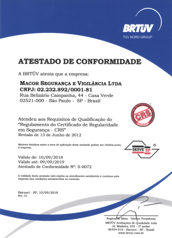 Certificado de Regularidade em Segurança - SEVESP