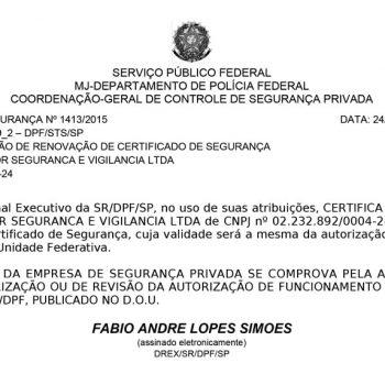 Certificado de segurança Nº 1413/2015