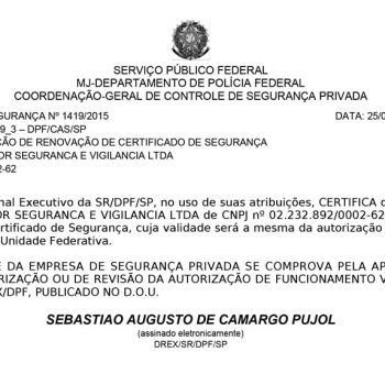 Certificado de segurança Nº 1419/2015