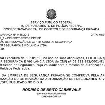 Certificado de segurança Nº 1455/2015