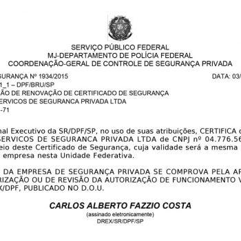 Certificado de segurança Nº 1934/2015