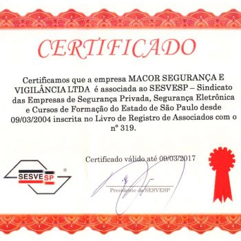 Certificado de associação ao SESVESP