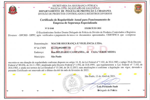 Certificado de Regularidade Anual para Funcionamento de Empresa de Segurança Especializada
